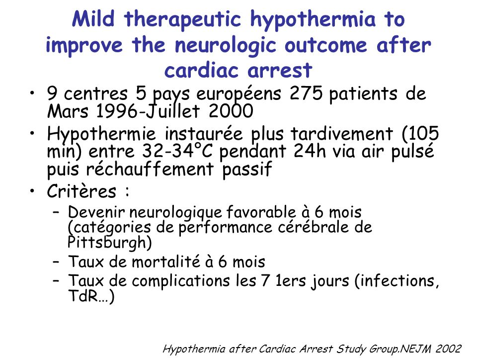 Mild therapeutic hypothermia to improve the neurologic outcome after cardiac arrest