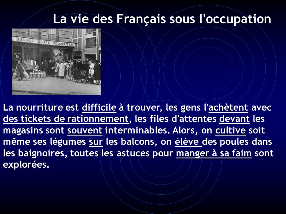 La vie des Français sous l occupation