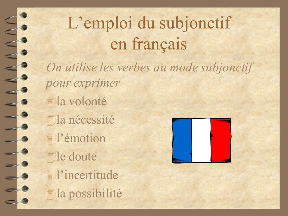 L'emploi du subjonctif en français