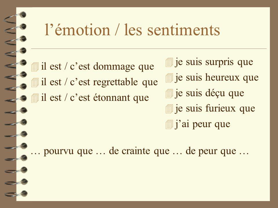 l'émotion / les sentiments