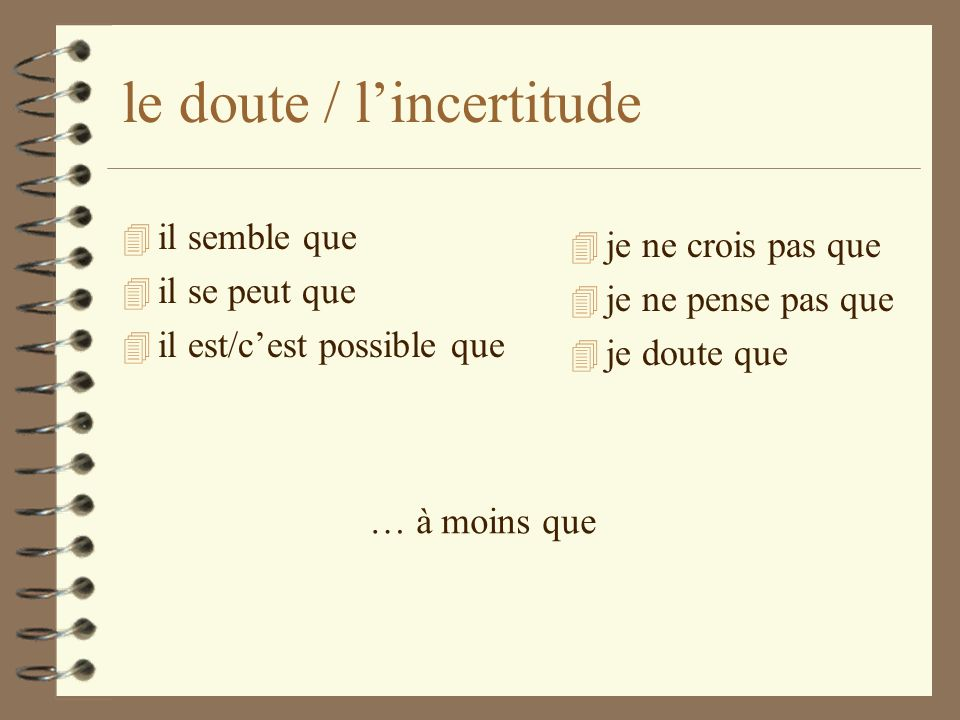 le doute / l'incertitude