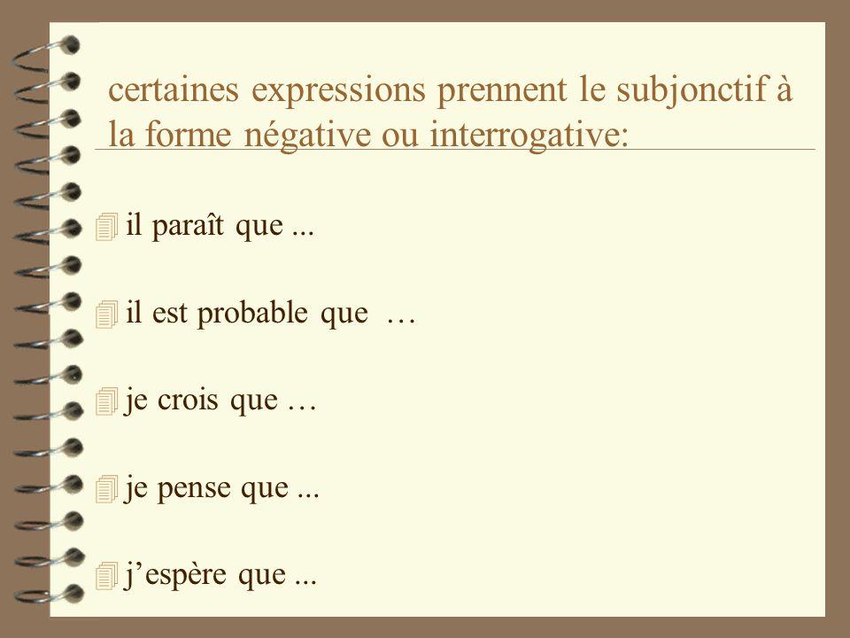 certaines expressions prennent le subjonctif à la forme négative ou interrogative: