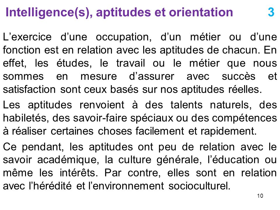 Intelligence(s), aptitudes et orientation 3