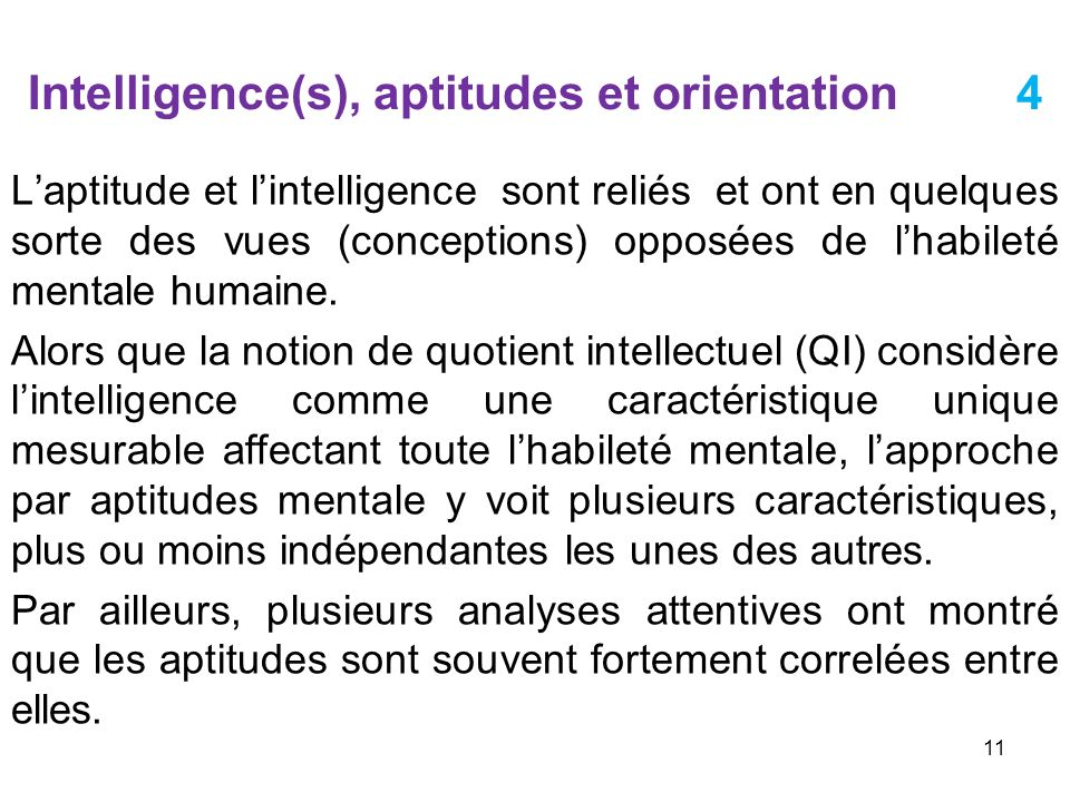 Intelligence(s), aptitudes et orientation 4