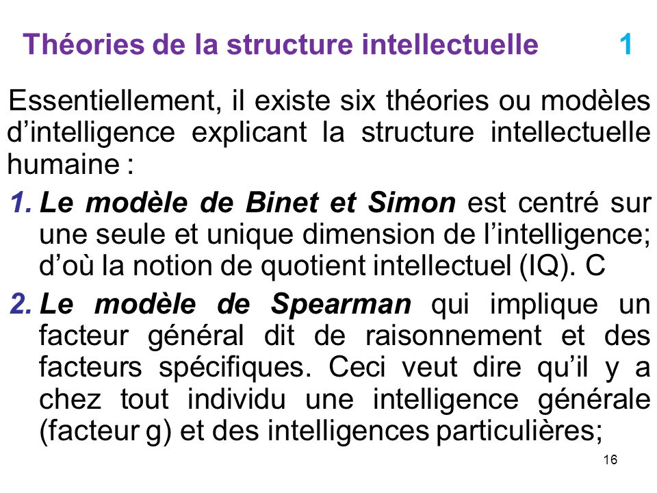 Théories de la structure intellectuelle 1