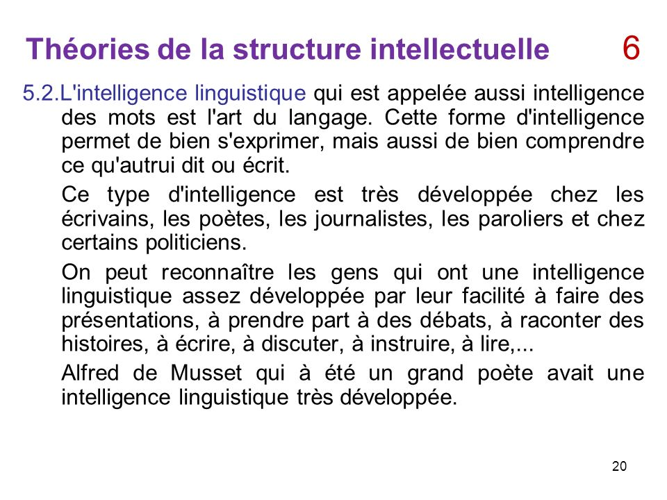 Théories de la structure intellectuelle 6