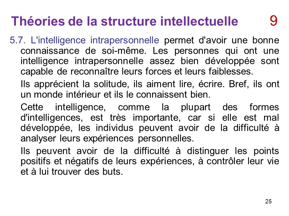 Théories de la structure intellectuelle 9