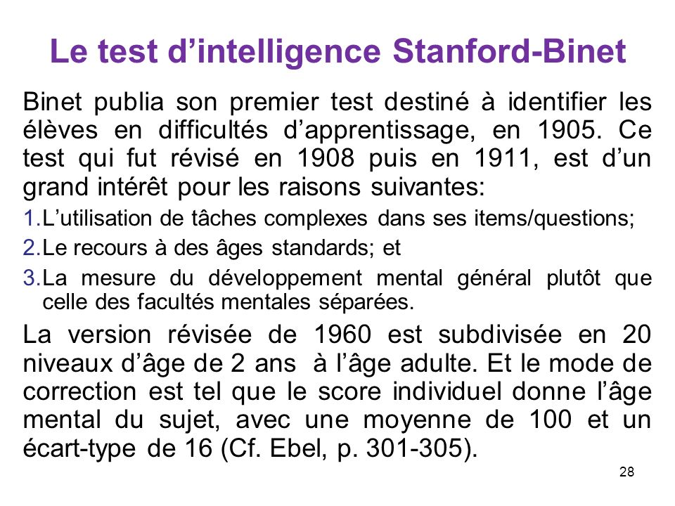 Le test d'intelligence Stanford-Binet