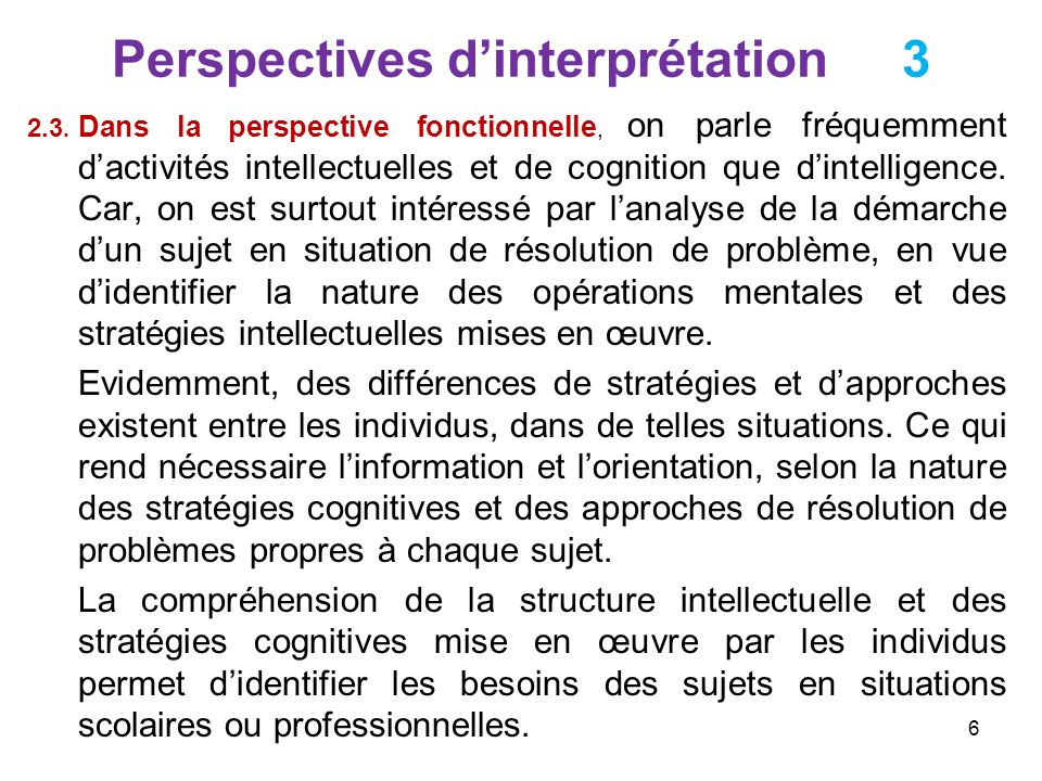 Perspectives d'interprétation 3