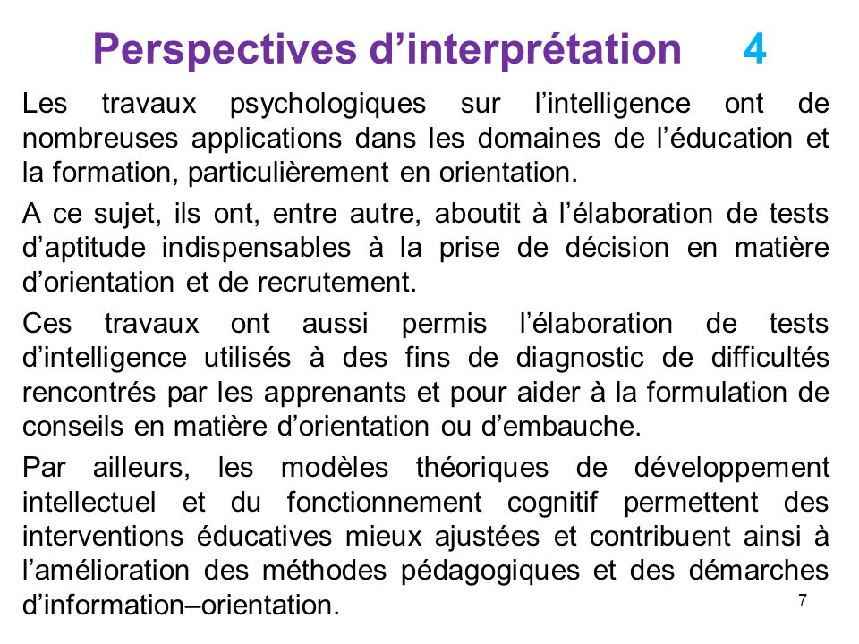 Perspectives d'interprétation 4