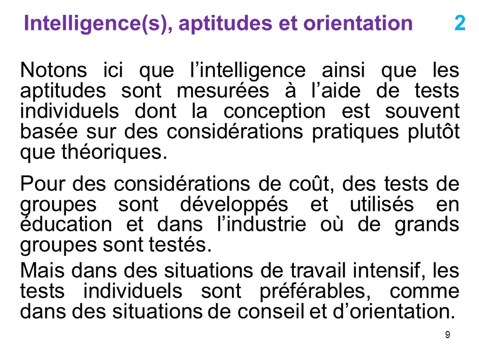 Intelligence(s), aptitudes et orientation 2