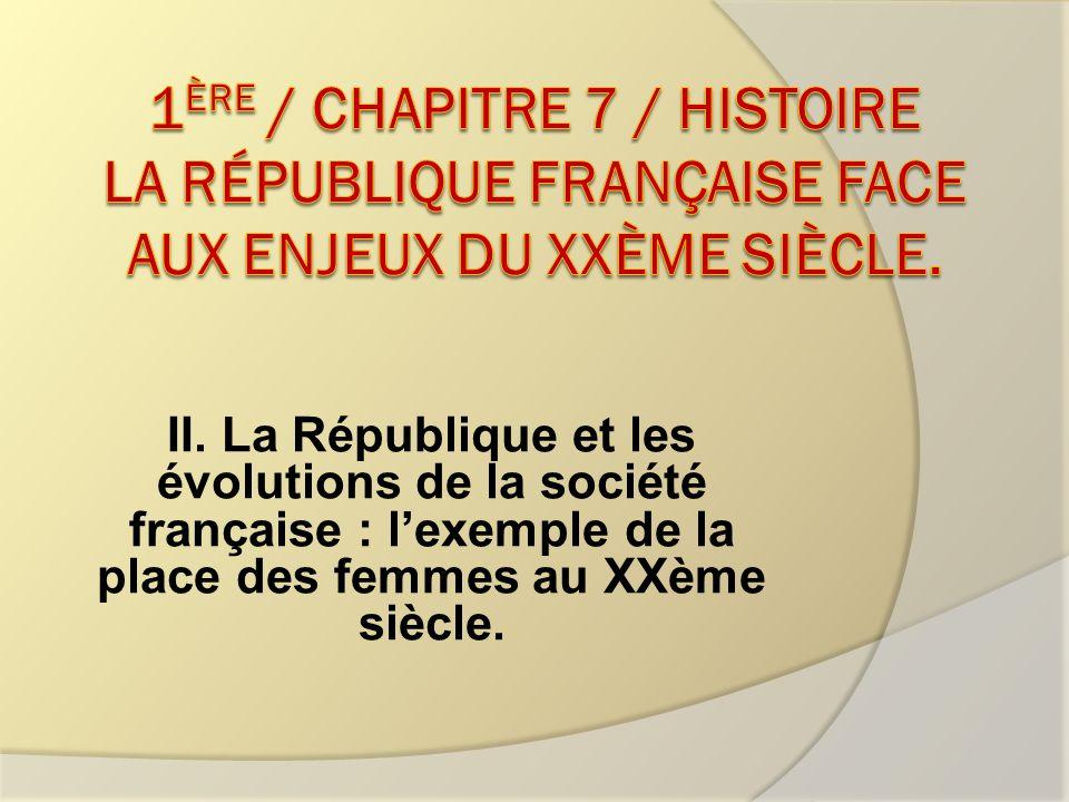 1ère / Chapitre 7 / Histoire La République française face aux enjeux du XXème siècle.