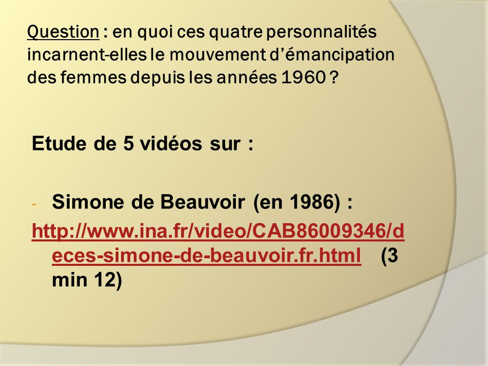 Simone de Beauvoir (en 1986) :