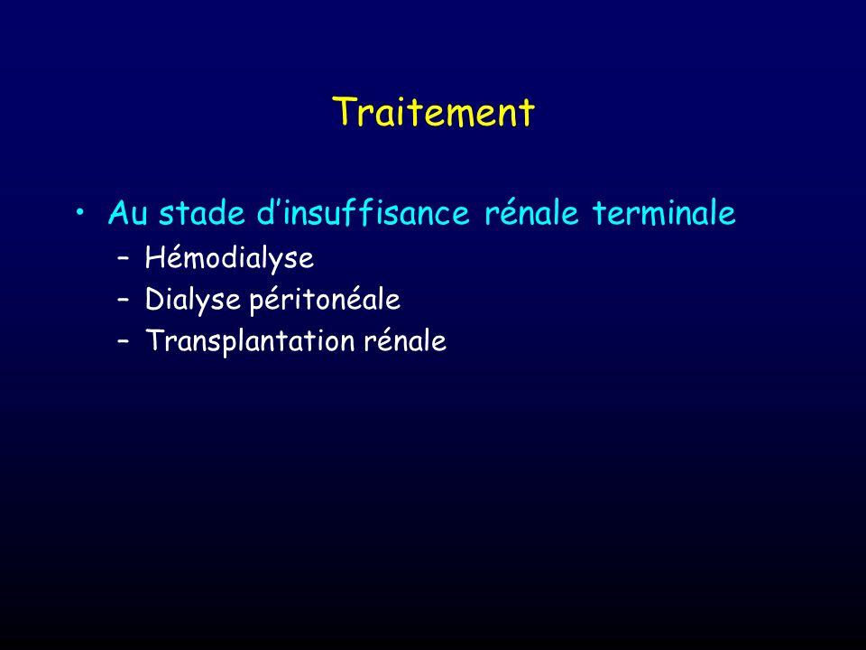 Traitement Au stade d'insuffisance rénale terminale Hémodialyse