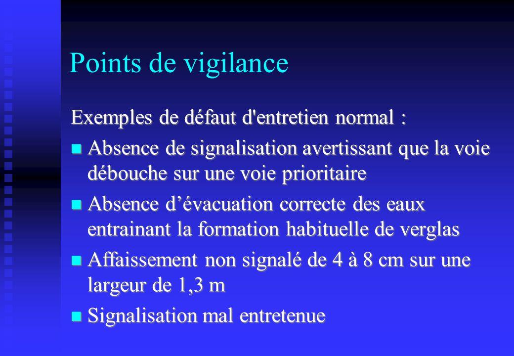 Points de vigilance Exemples de défaut d entretien normal :
