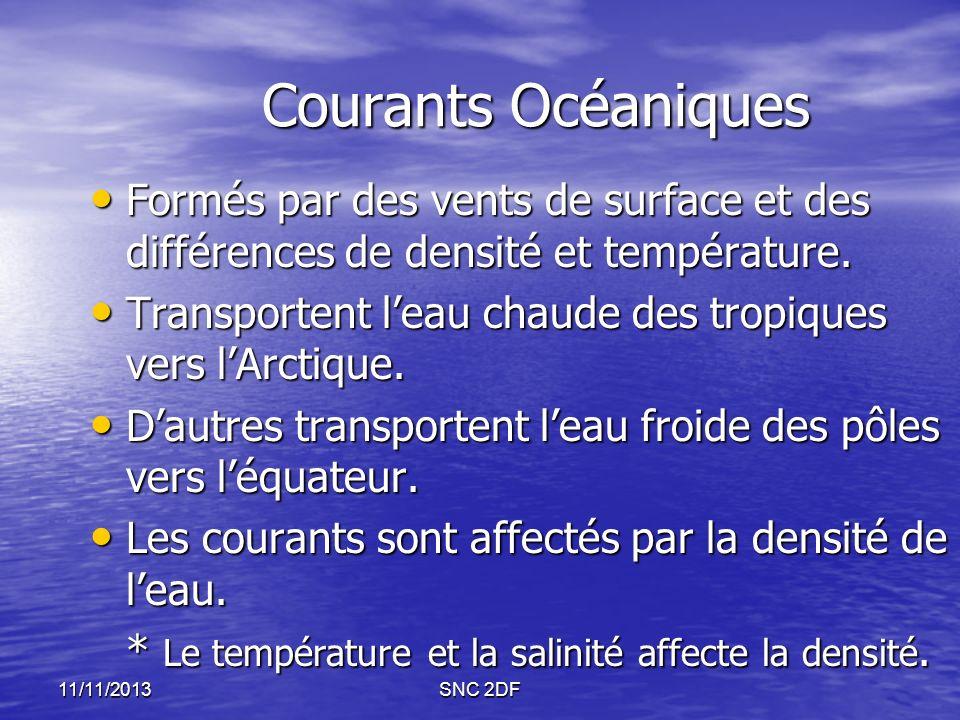 Courants Océaniques Formés par des vents de surface et des différences de densité et température.