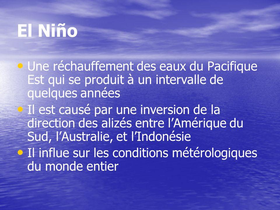 El NiñoUne réchauffement des eaux du Pacifique Est qui se produit à un intervalle de quelques années.