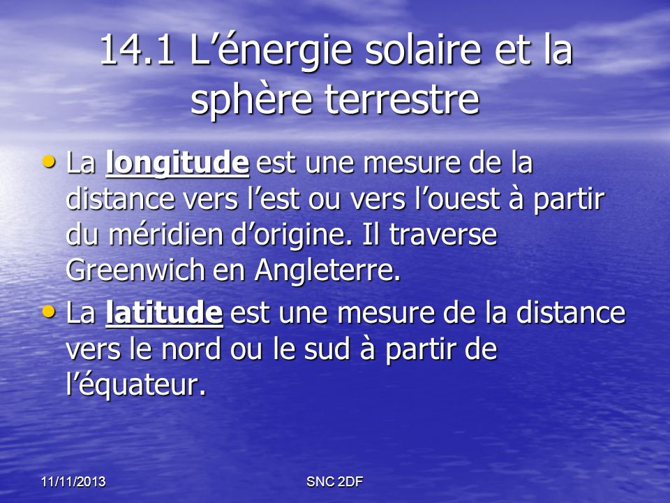 14.1 L'énergie solaire et la sphère terrestre