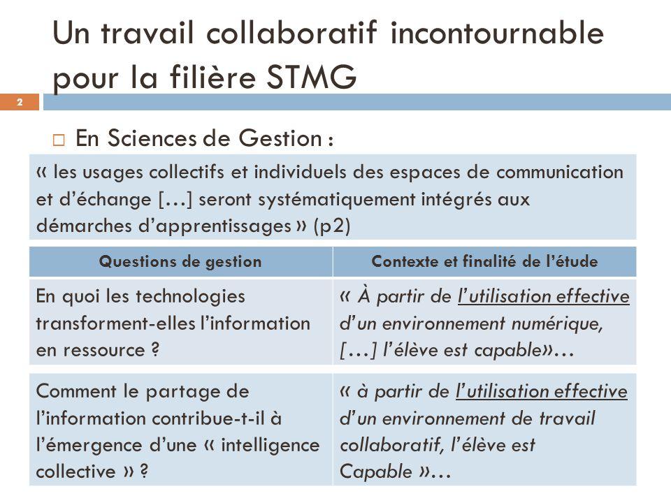 Un travail collaboratif incontournable pour la filière STMG