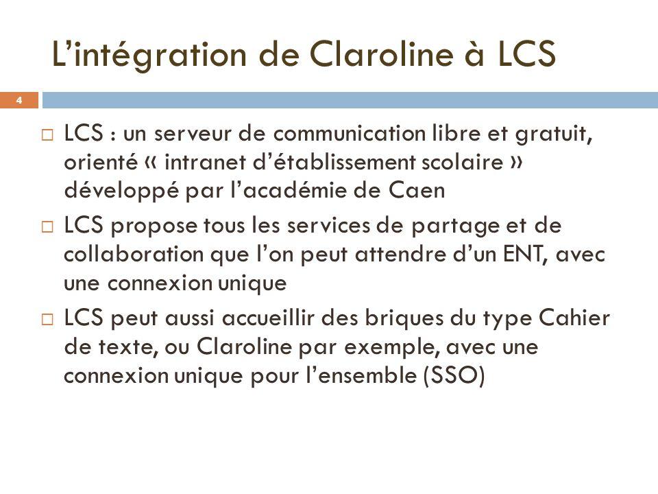 L'intégration de Claroline à LCS