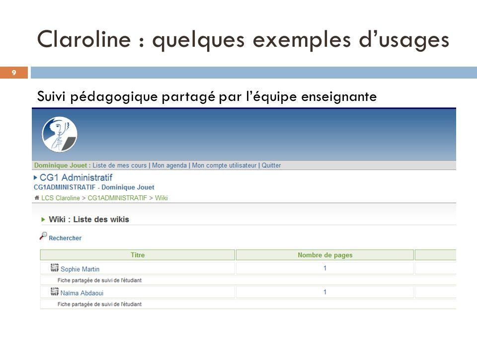 Claroline : quelques exemples d'usages