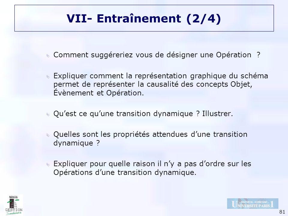 VII- Entraînement (2/4) Comment suggéreriez vous de désigner une Opération