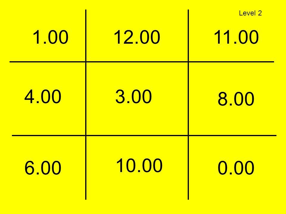 Level 2 1.00 12.00 11.00 4.00 3.00 8.00 10.00 6.00 0.00