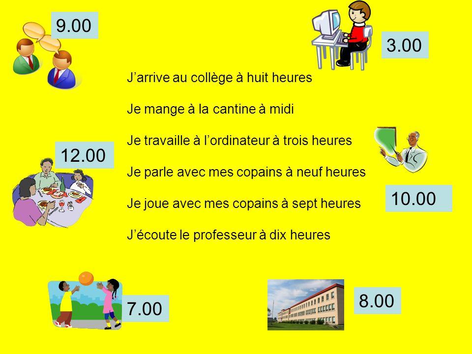 9.00 3.00 12.00 10.00 8.00 7.00 J'arrive au collège à huit heures