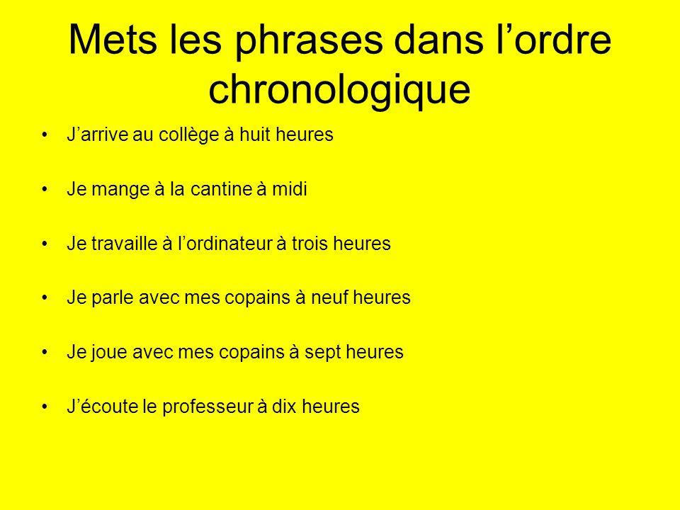 Mets les phrases dans l'ordre chronologique