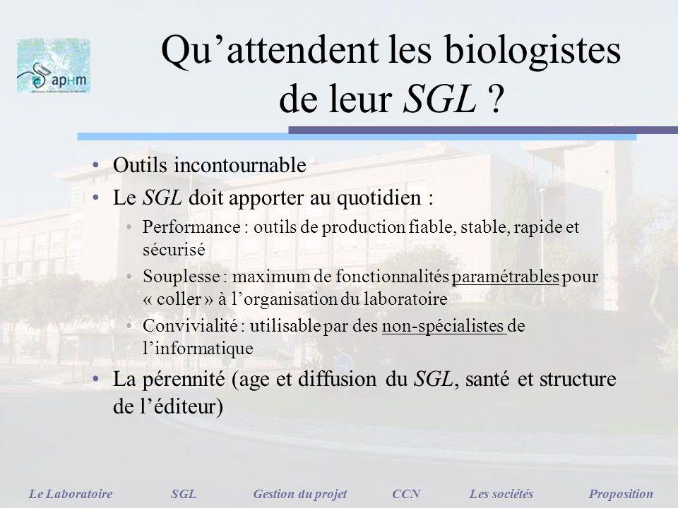 Qu'attendent les biologistes de leur SGL