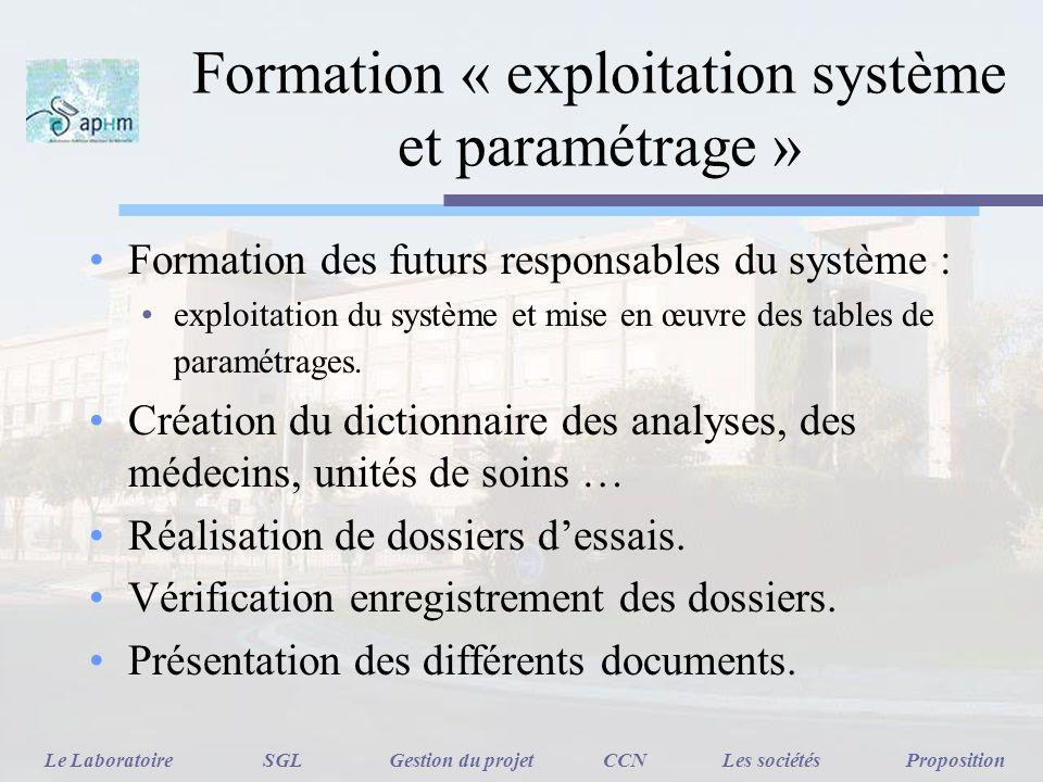 Formation « exploitation système et paramétrage »