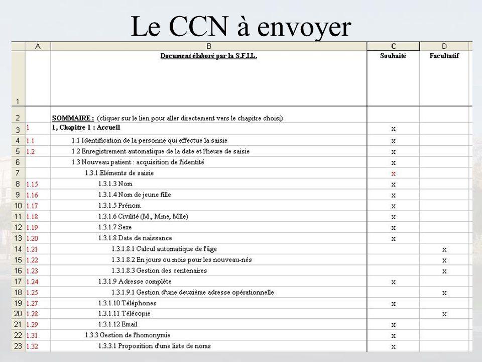 Le CCN à envoyer