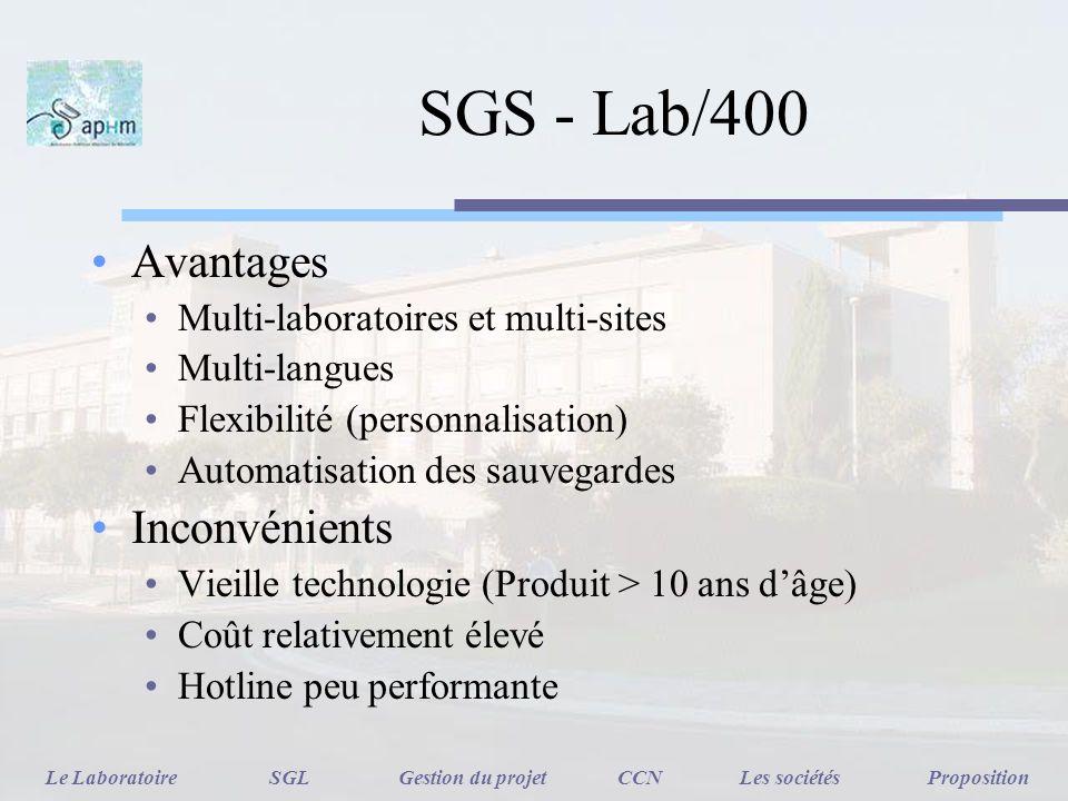 SGS - Lab/400 Avantages Inconvénients