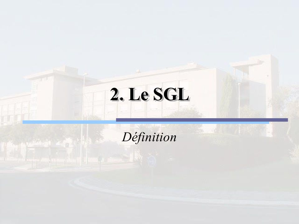 2. Le SGL 2. Le SGL Définition