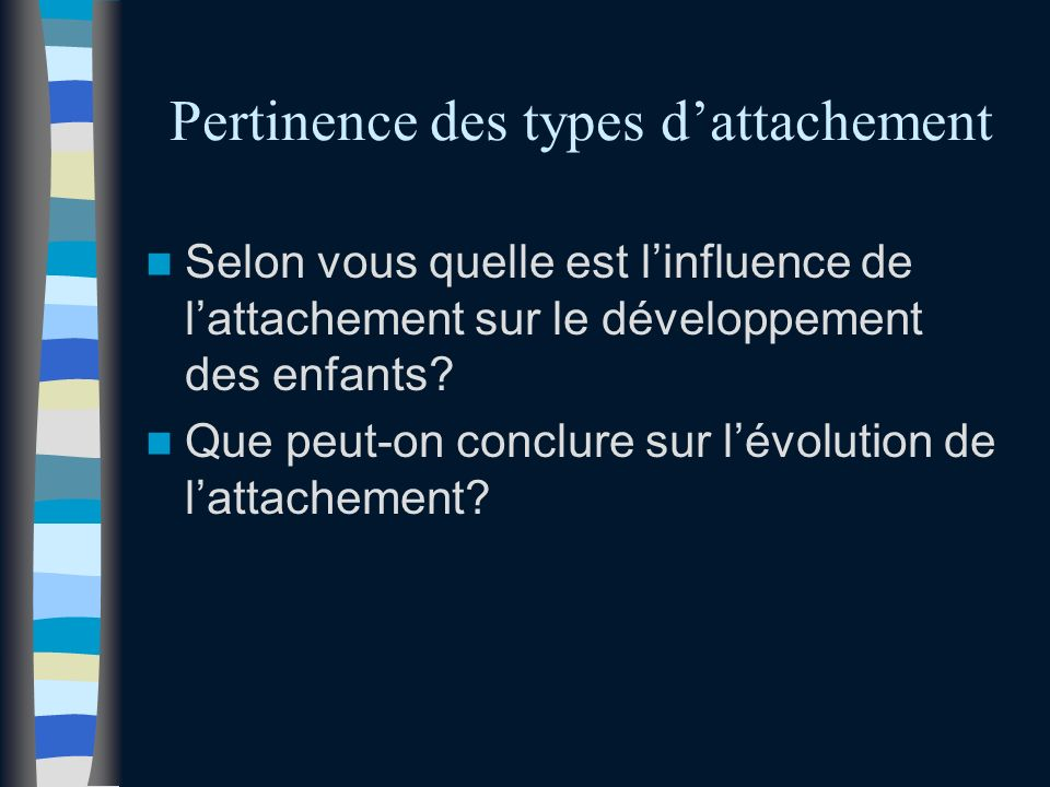 Pertinence des types d'attachement