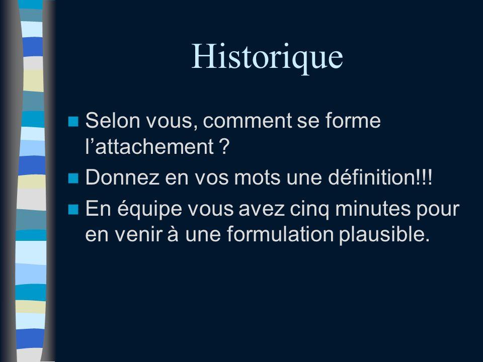 Historique Selon vous, comment se forme l'attachement