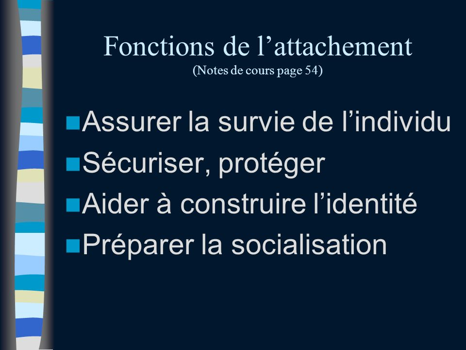 Fonctions de l'attachement (Notes de cours page 54)