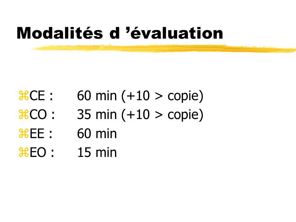 Modalités d 'évaluation