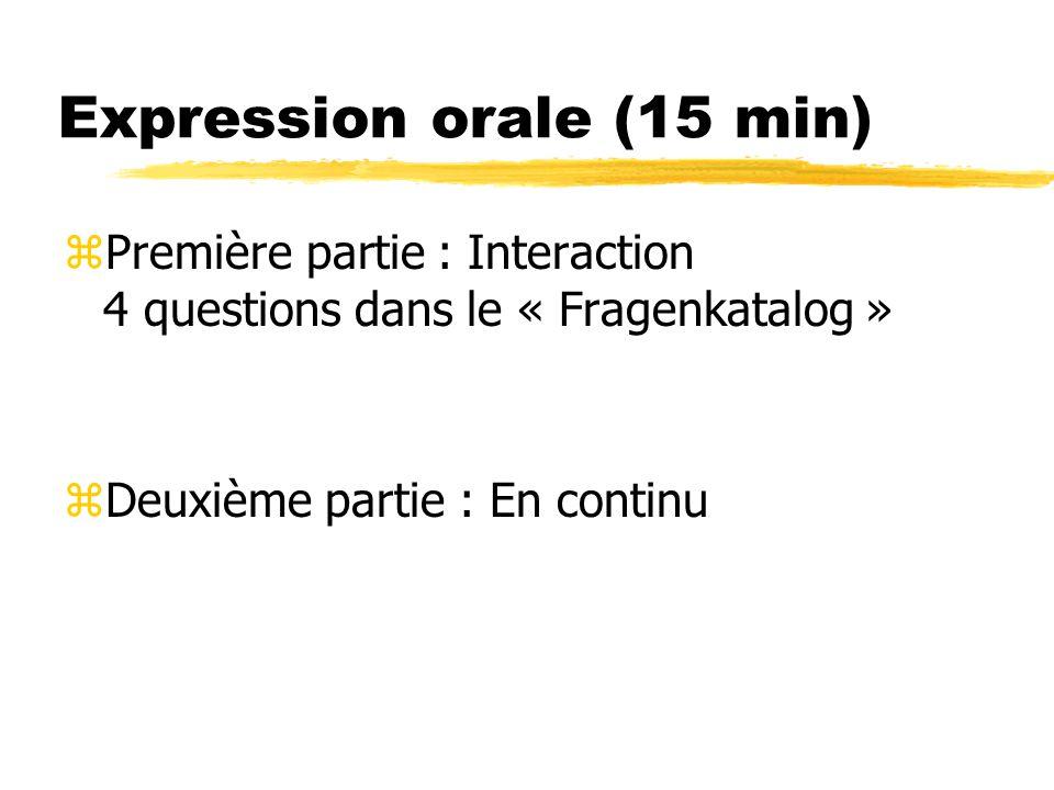 Expression orale (15 min)