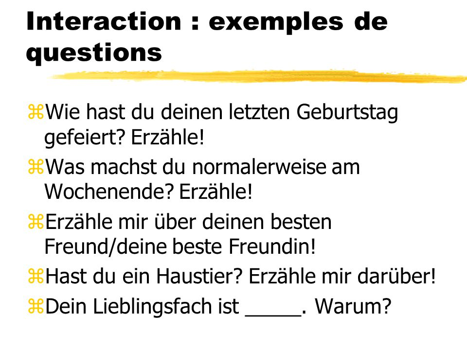 Interaction : exemples de questions