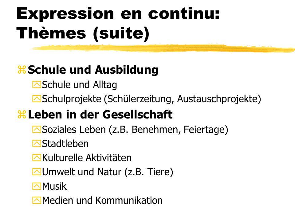 Expression en continu: Thèmes (suite)