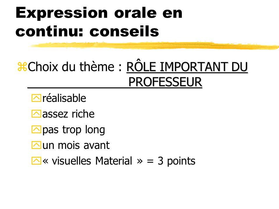 Expression orale en continu: conseils