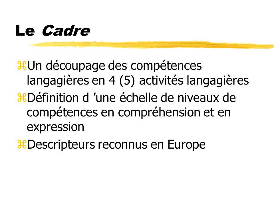Le Cadre Un découpage des compétences langagières en 4 (5) activités langagières.