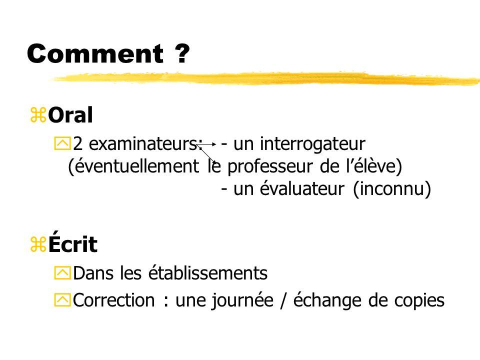 Comment Oral. 2 examinateurs: - un interrogateur (éventuellement le professeur de l'élève) - un évaluateur (inconnu)