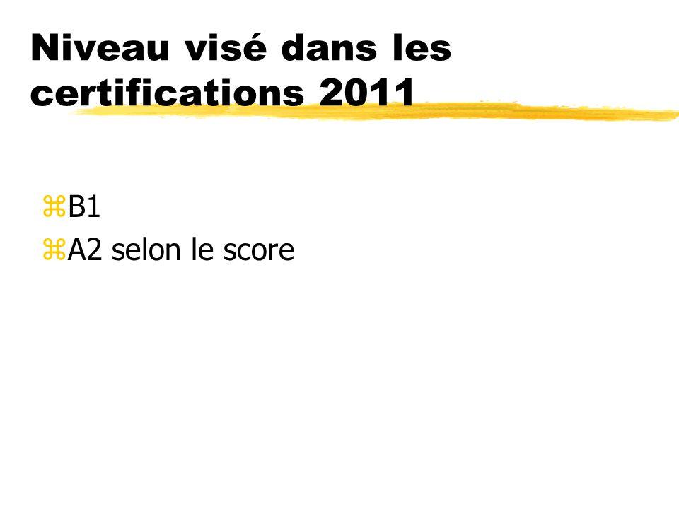 Niveau visé dans les certifications 2011
