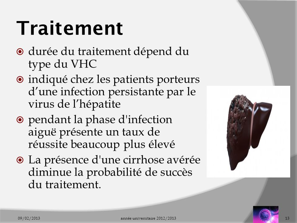Traitement durée du traitement dépend du type du VHC
