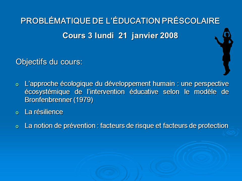 PROBLÉMATIQUE DE L'ÉDUCATION PRÉSCOLAIRE Cours 3 lundi 21 janvier 2008