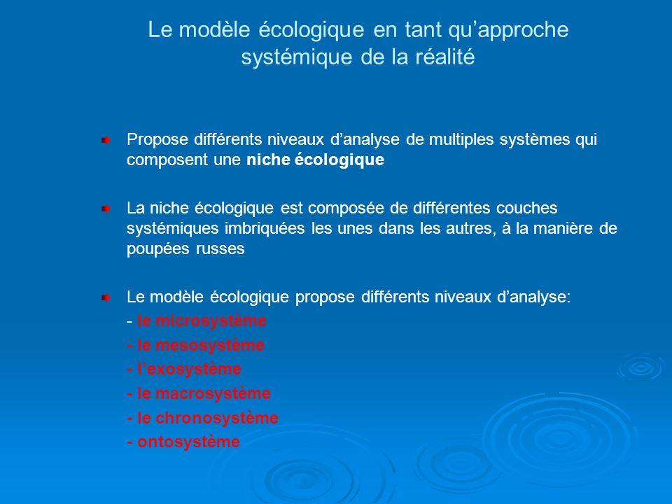 Le modèle écologique en tant qu'approche systémique de la réalité