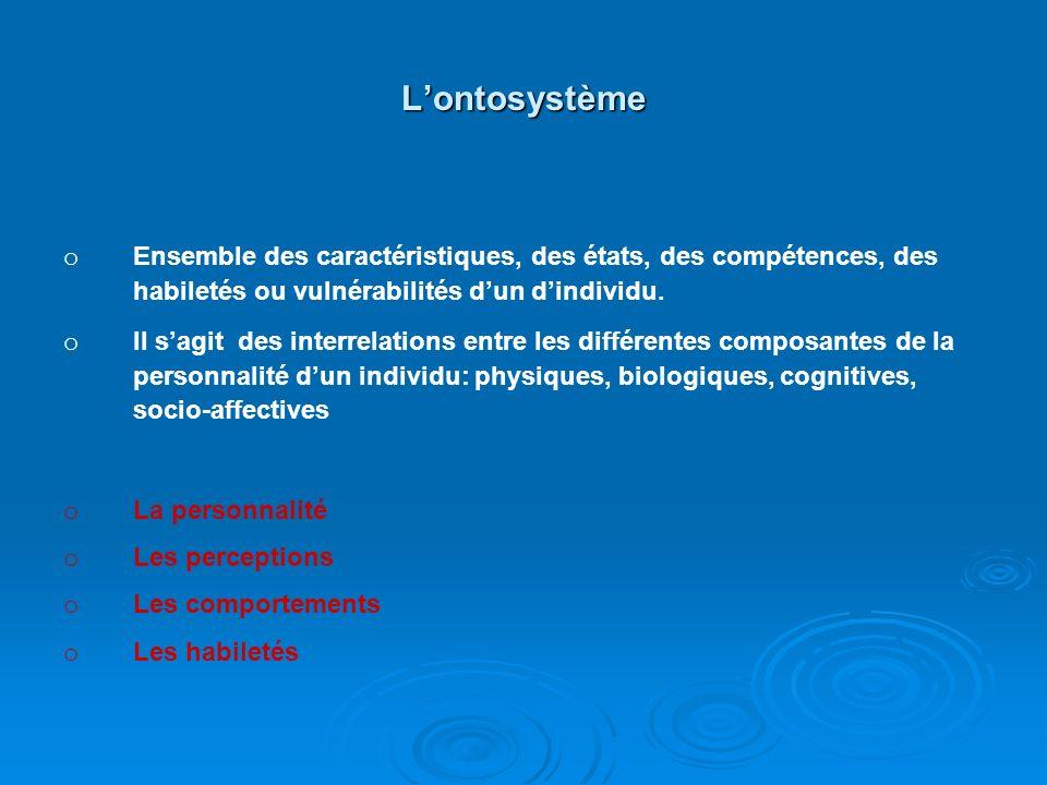 L'ontosystème Ensemble des caractéristiques, des états, des compétences, des habiletés ou vulnérabilités d'un d'individu.