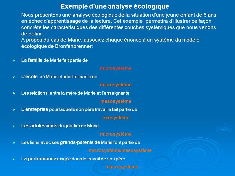 Exemple d une analyse écologique